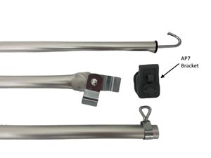 AP2 ... UK Awning Roof Adjustable Pole with Bracket Pad & Steel Screw Clamp